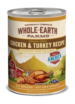 Whole Earth Farms Grain-Free Chicken & Turkey Recipe Canned Dog Food, 12 oz, 12 Pack