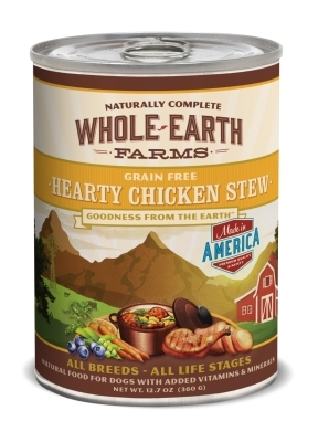 Whole Earth Farms Grain-Free Hearty Chicken Stew Recipe Canned Dog Food, 12 oz, 12 Pack
