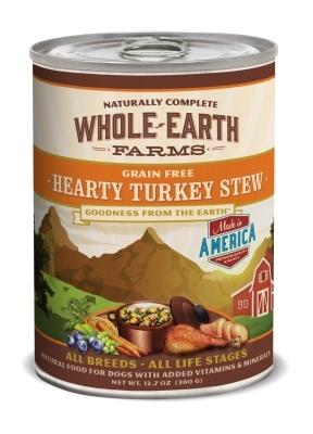 Whole Earth Farms Grain-Free Hearty Turkey Stew Recipe Canned Dog Food, 12 oz, 12 Pack