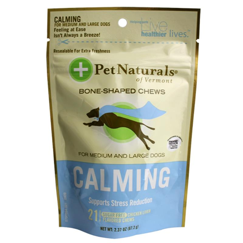 Pet Naturals Calming Bone Chews for Medium & Large Dogs, 2.37 oz, 21 ct.