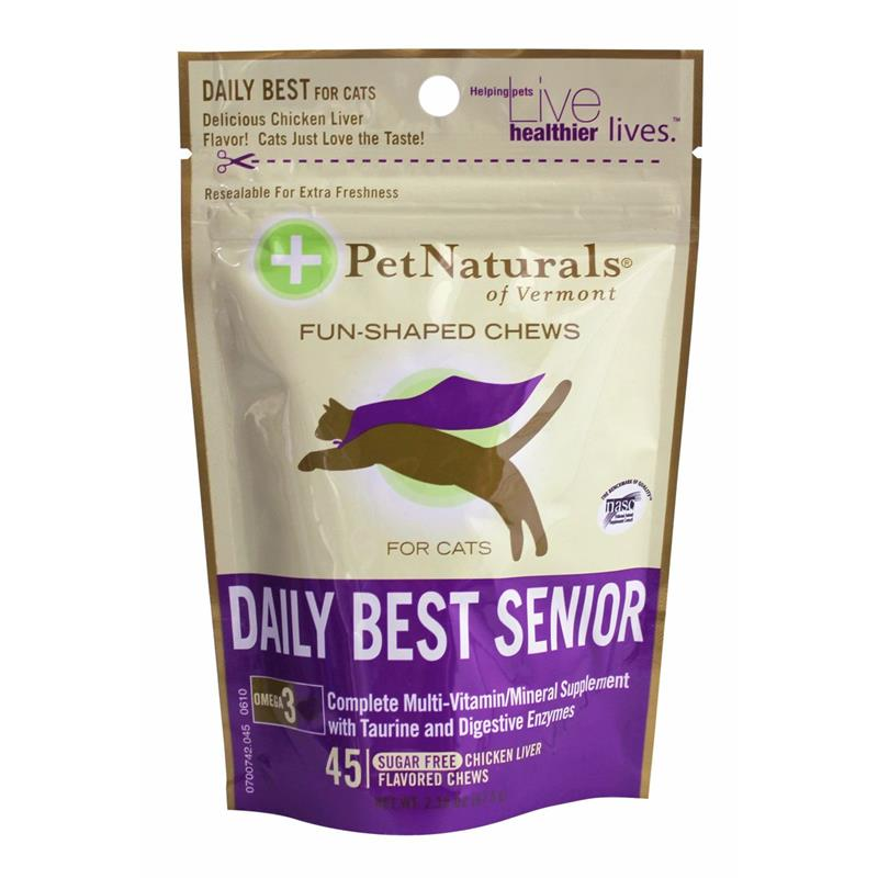Pet Naturals Daily Best Senior Multi-Vitamin Soft Chews for Cats, 2.38 oz, 45 ct.